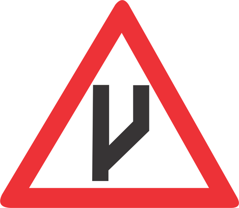 BEGINNING OF DUAL ROADWAY STRAIGHT ON ROAD SIGN W118 - BEGINNING OF DUAL ROADWAY (STRAIGHT ON) ROAD SIGN (W118)