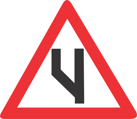 BEGINNING OF DUAL ROADWAY (TO LEFT) ROAD SIGN (W119)