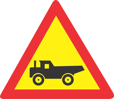 CONSTRUCTION VEHICLE CROSSING ROAD SIGN TW345 1 - CONSTRUCTION VEHICLE CROSSING ROAD SIGN (TW344)
