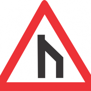 END OF DUAL ROADWAY STRAIGHT ON ROAD SIGN W117 300x300 - END OF DUAL ROADWAY (STRAIGHT ON) ROAD SIGN (W117)