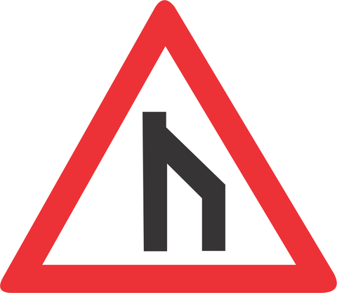 END OF DUAL ROADWAY STRAIGHT ON ROAD SIGN W117 - END OF DUAL ROADWAY (STRAIGHT ON) ROAD SIGN (W117)
