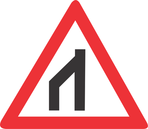END OF DUAL ROADWAY TO RIGHT ROAD SIGN W116 - END OF DUAL ROADWAY (TO RIGHT) ROAD SIGN (W116)
