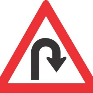 HAIRPIN BEND RIGHT ROAD SIGN W206 300x300 - HAIRPIN BEND (RIGHT) ROAD SIGN (W206)