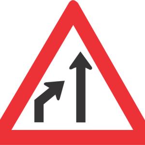 LEFT LANE ENDS ROAD SIGN W215 300x300 - LEFT LANE ENDS ROAD SIGN (W215)