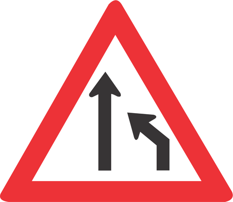 RIGHT LANE ENDS ROAD ROAD SIGN W214 - RIGHT LANE ENDS ROAD ROAD SIGN (W214)