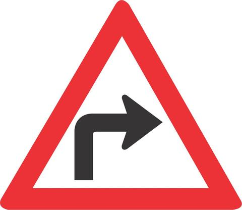 SHARP CURVE RIGHT ROAD SIGN W204 - SHARP CURVE (RIGHT) ROAD SIGN (W204)