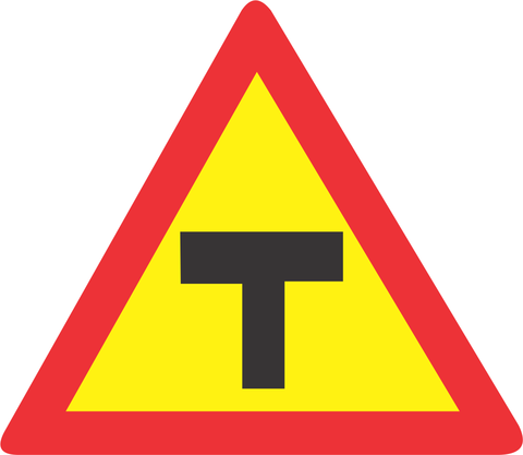TEMPORARY T JUNCTION ROAD SIGN TW104 - TEMPORARY T-JUNCTION ROAD SIGN (TW104)