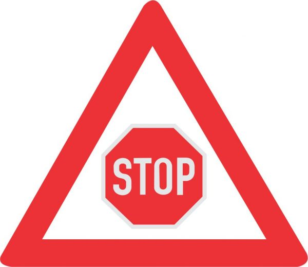 "TRAFFIC CONTROL STOP AHEAD ROAD SIGN 600x520 - TRAFFIC CONTROL ""STOP"" AHEAD ROAD SIGN (W302)"