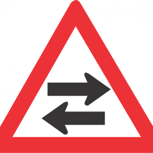 TWO WAY TRAFFIC CROSS ROAD ROAD SIGN W213 300x300 - TWO - WAY TRAFFIC CROSS-ROAD ROAD SIGN (W213)