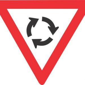 YIELD AT MINI CIRCLE ROAD SIGN R2.2 600mm 1 300x300 - TRAFFIC CIRCLE ROAD SIGN (W201)
