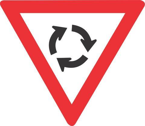 YIELD AT MINI CIRCLE ROAD SIGN R2.2 600mm 1 - TRAFFIC CIRCLE ROAD SIGN (W201)