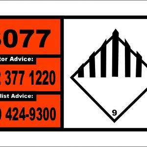 3077 final 700mm x 400mm small 300x300 - UN1749 Chlorine trifluoride, Toxic Gas (2), Hazchem Placard